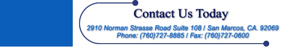 Website Footer: 2910 Norman Strasse Road Suite 108 / San Marcos, CA. 92069